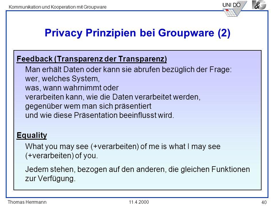 Privacy Prinzipien bei Groupware (2)