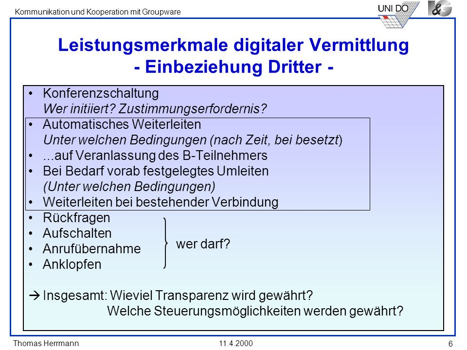 Leistungsmerkmale digitaler Vermittlung - Einbeziehung Dritter -