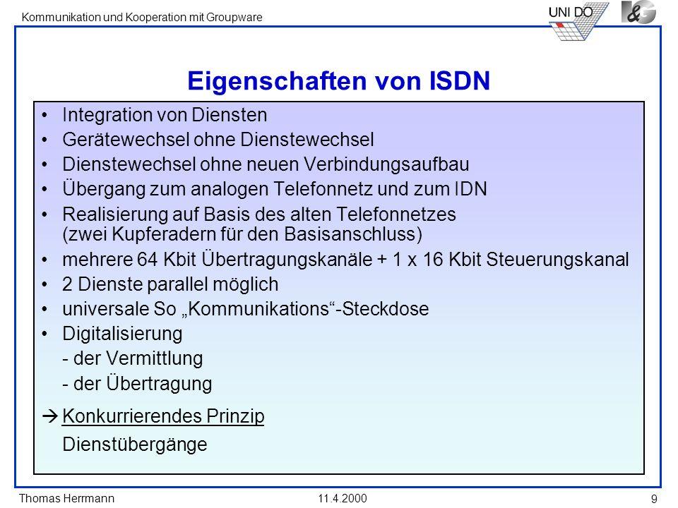Eigenschaften von ISDN