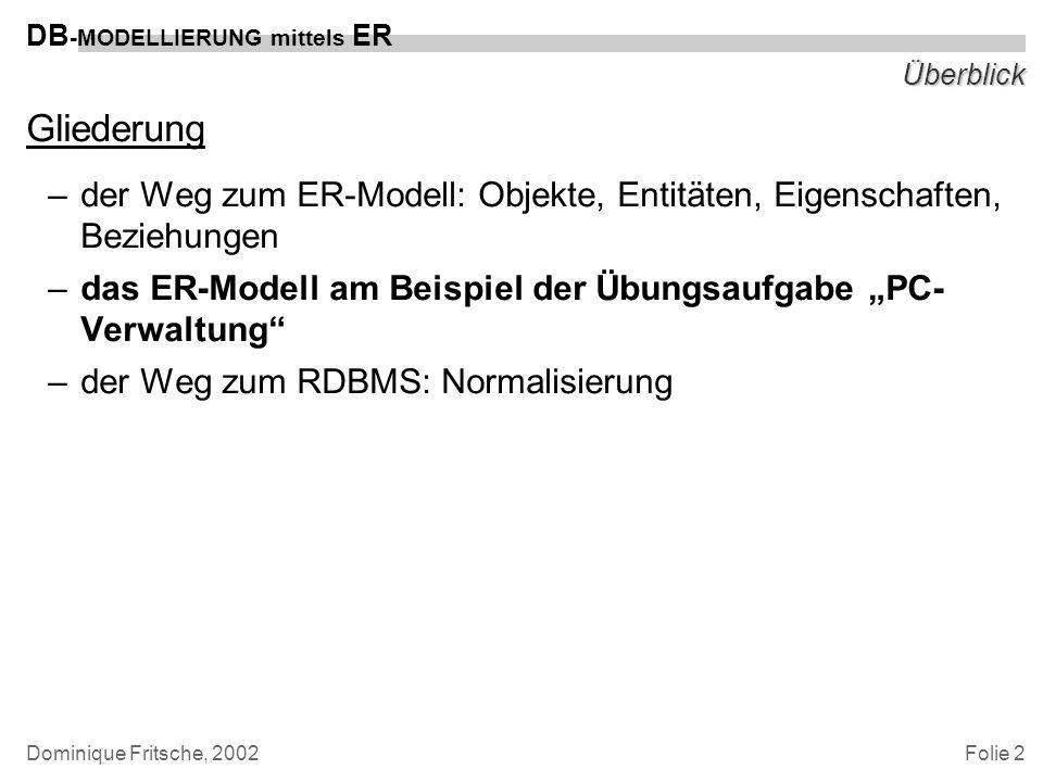 Überblick Gliederung. der Weg zum ER-Modell: Objekte, Entitäten, Eigenschaften, Beziehungen.