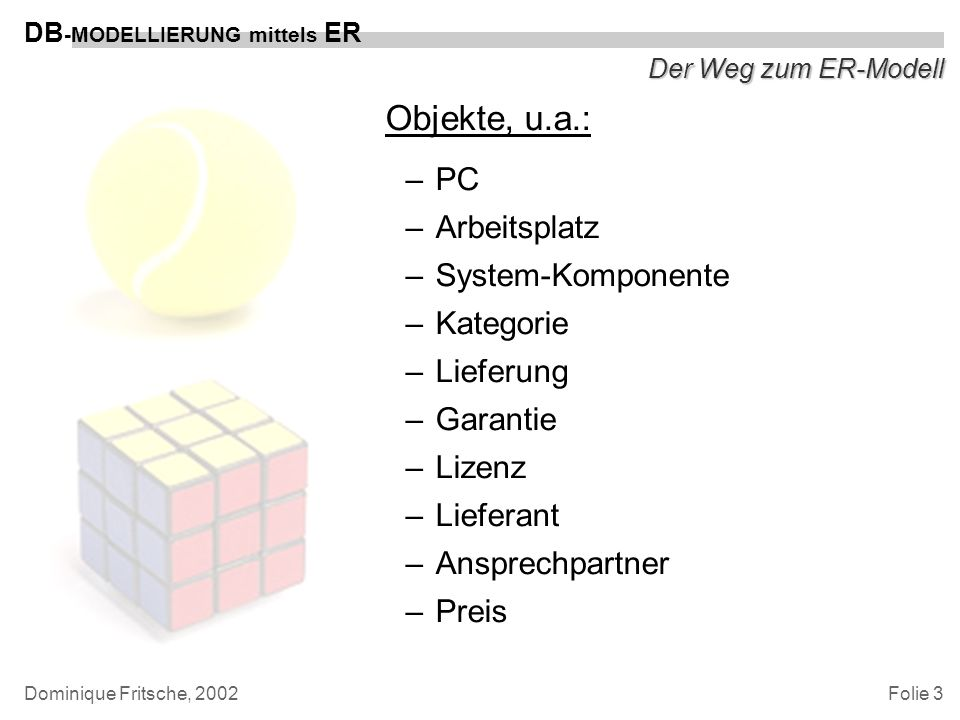 Objekte, u.a.: PC Arbeitsplatz System-Komponente Kategorie Lieferung