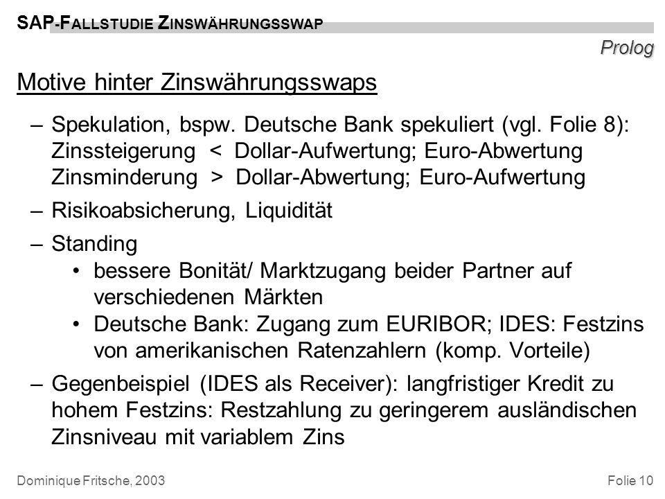 Motive hinter Zinswährungsswaps