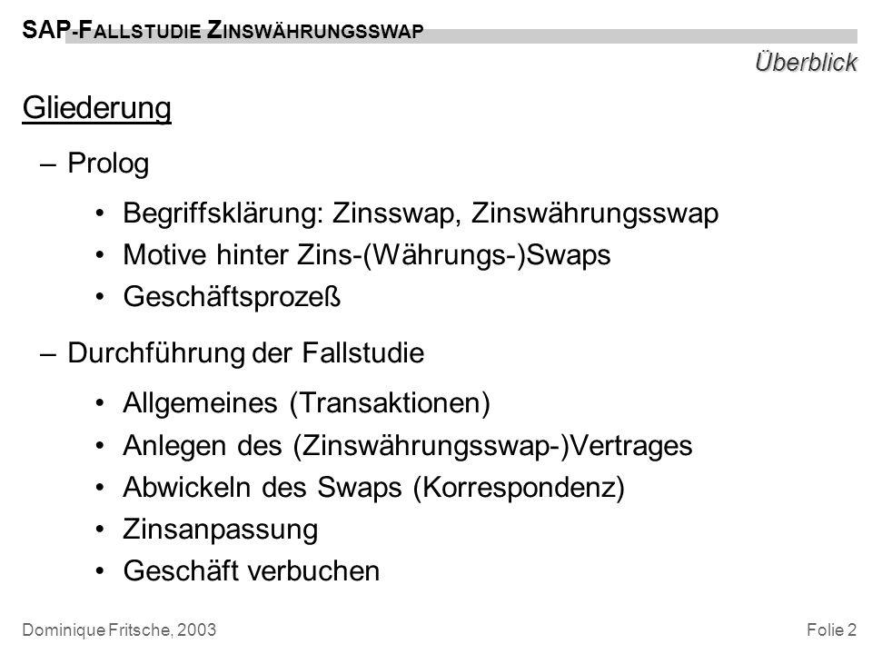 Gliederung Prolog Begriffsklärung: Zinsswap, Zinswährungsswap