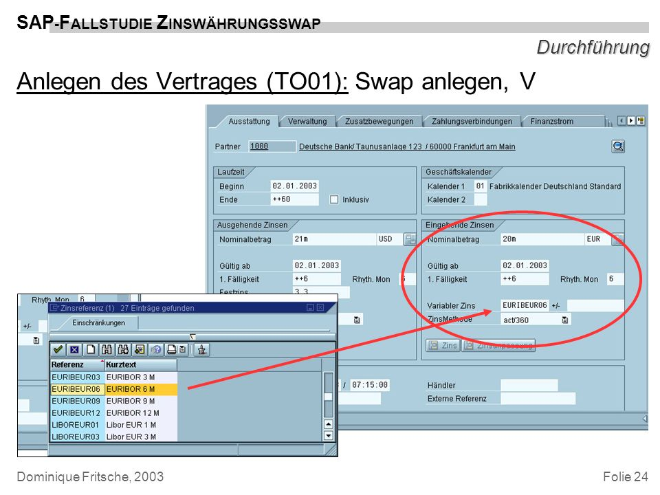 Anlegen des Vertrages (TO01): Swap anlegen, V