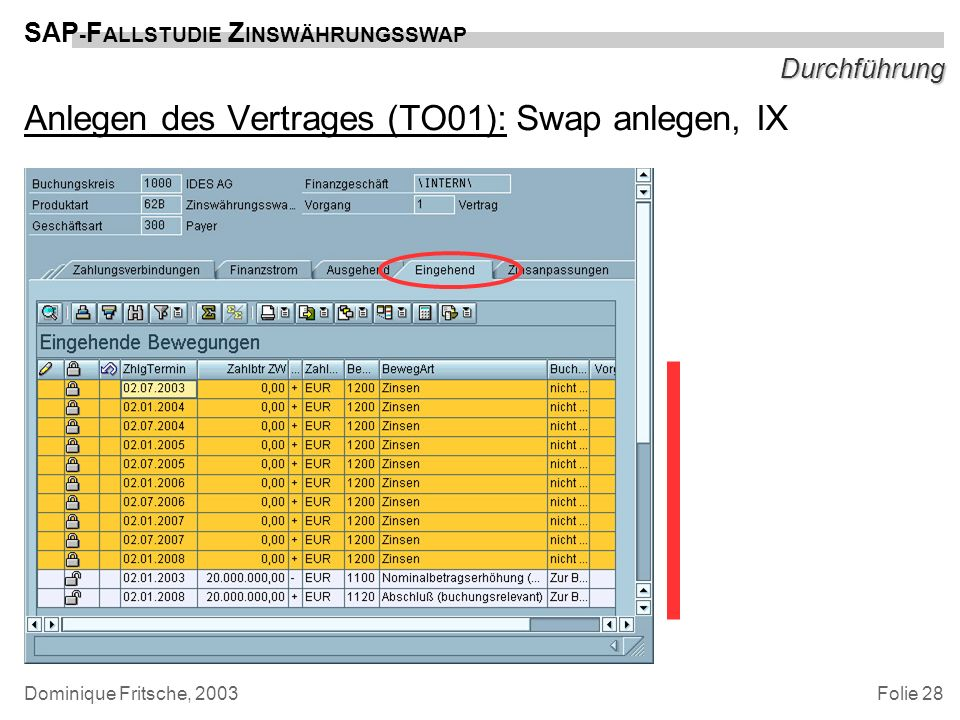 Anlegen des Vertrages (TO01): Swap anlegen, IX