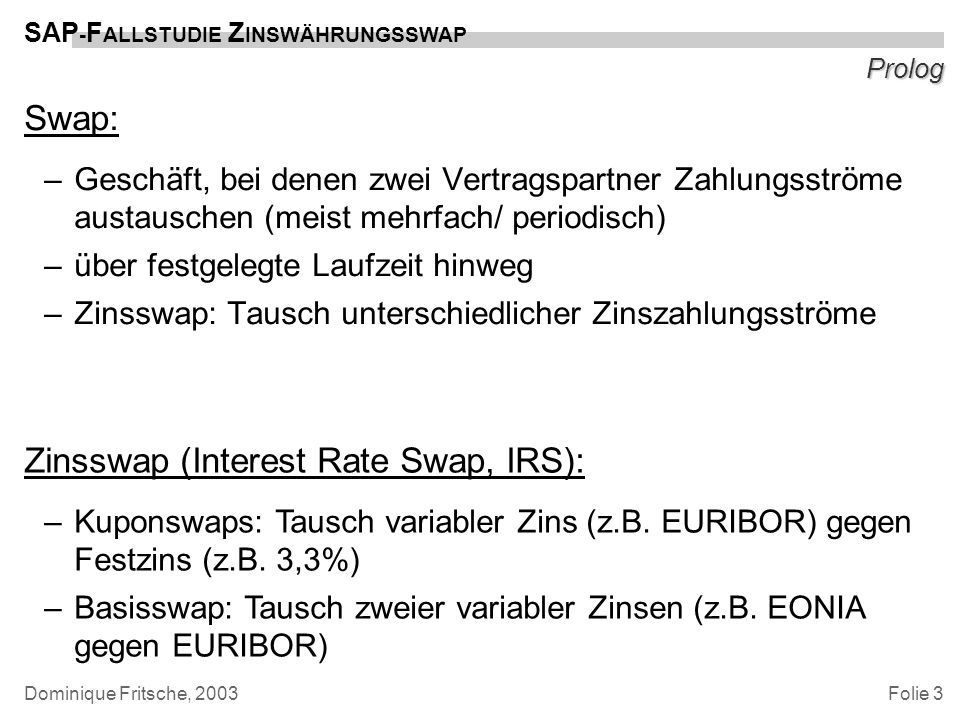 Zinsswap (Interest Rate Swap, IRS):