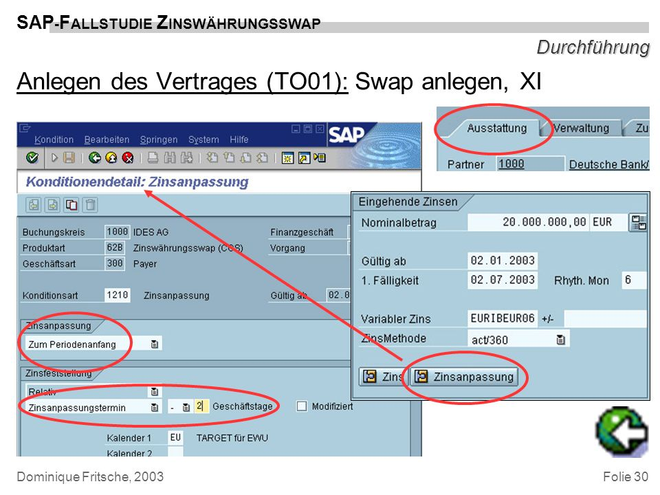 Anlegen des Vertrages (TO01): Swap anlegen, XI
