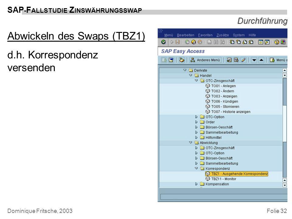 Abwickeln des Swaps (TBZ1) d.h. Korrespondenz versenden