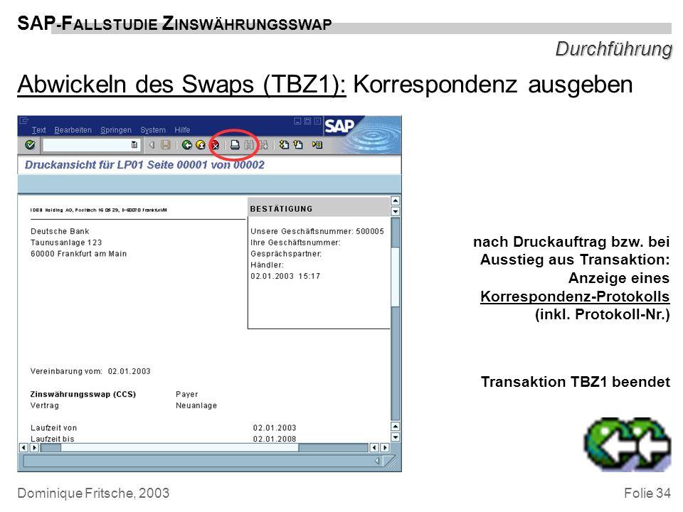 Abwickeln des Swaps (TBZ1): Korrespondenz ausgeben