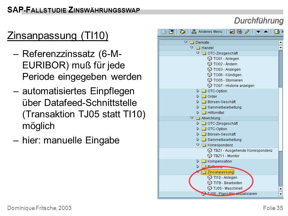 DurchführungZinsanpassung (TI10) Referenzzinssatz (6-M-EURIBOR) muß für jede Periode eingegeben werden.
