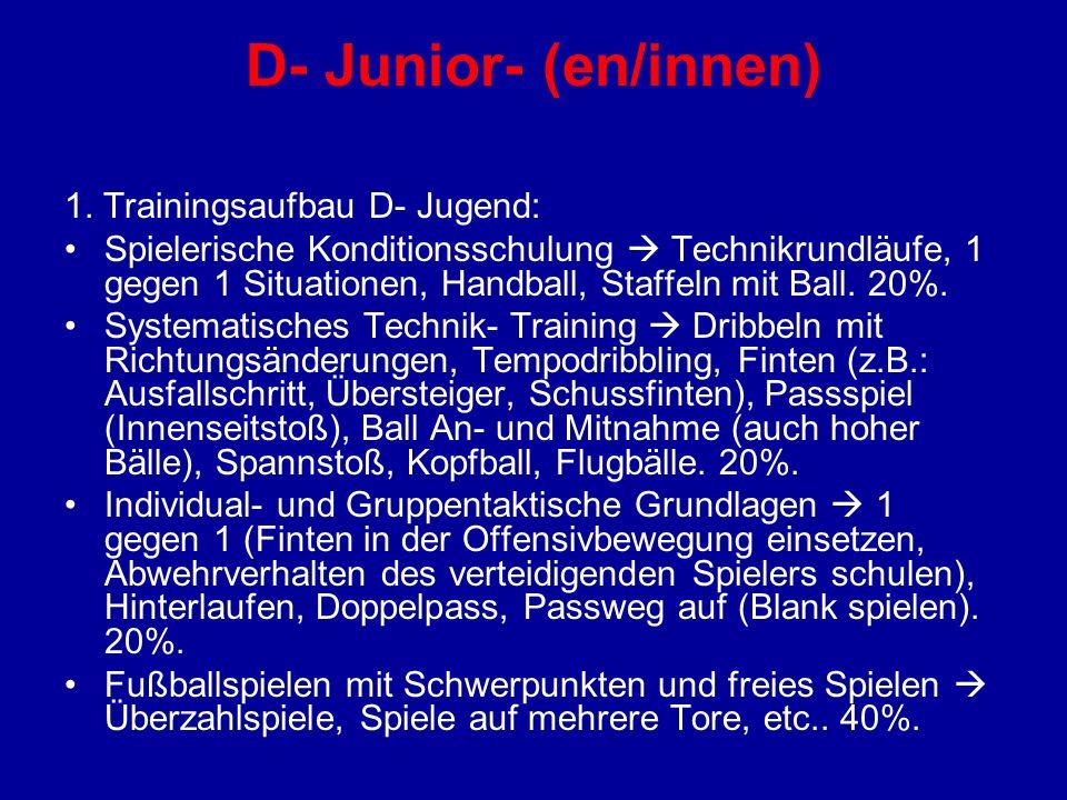 D- Junior- (en/innen) 1. Trainingsaufbau D- Jugend: