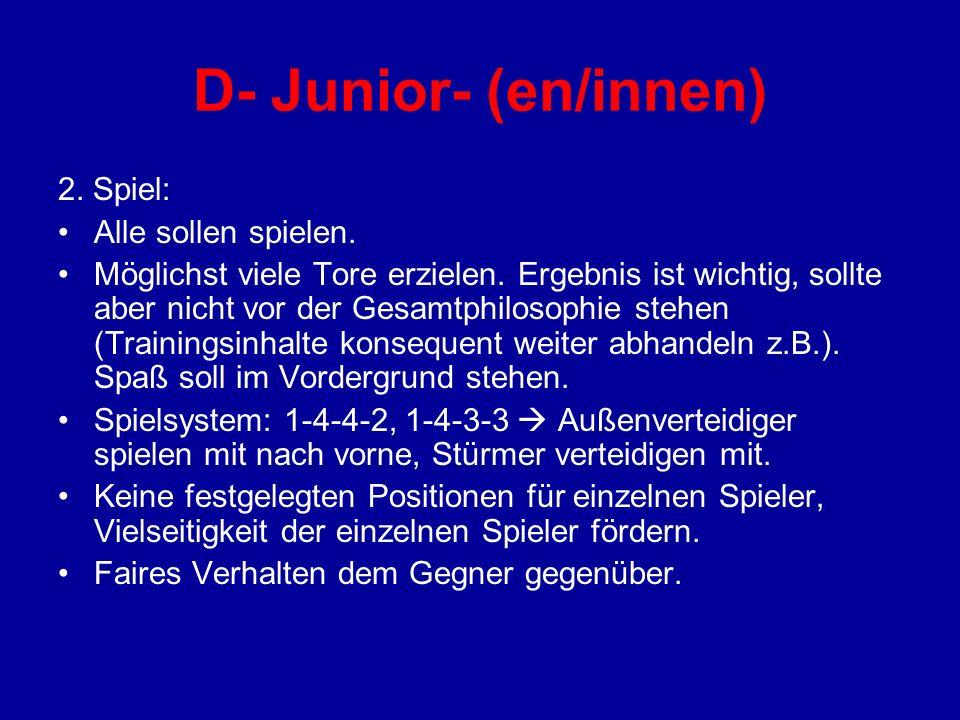 D- Junior- (en/innen) 2. Spiel: Alle sollen spielen.