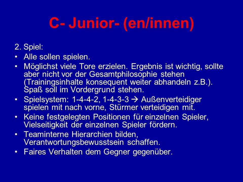 C- Junior- (en/innen) 2. Spiel: Alle sollen spielen.