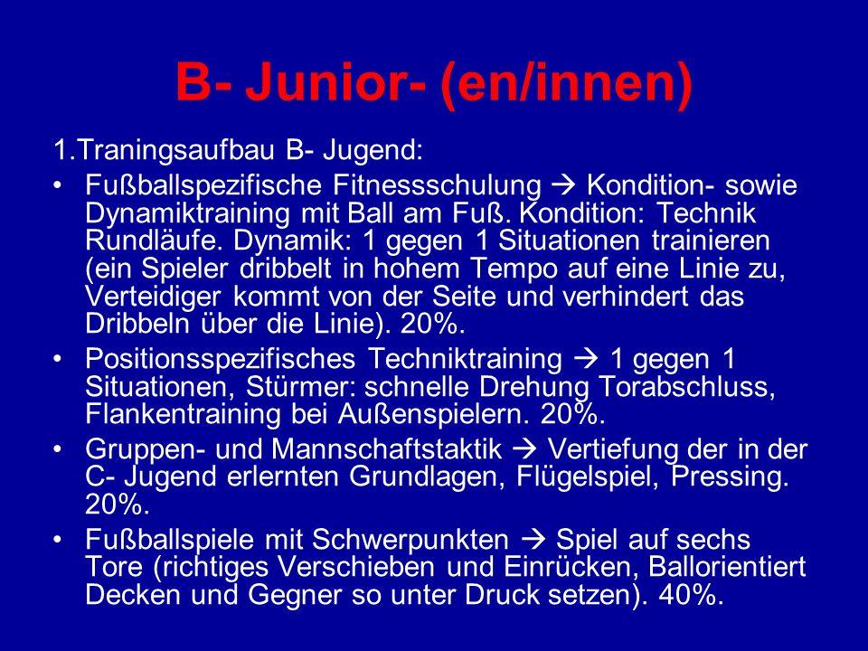 B- Junior- (en/innen) 1.Traningsaufbau B- Jugend: