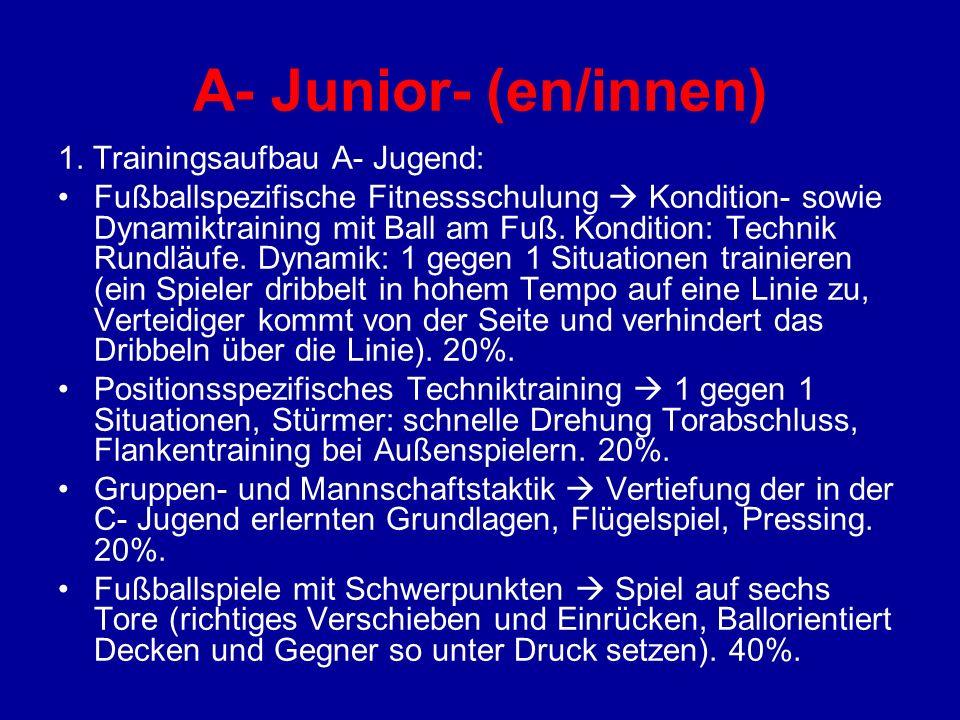 A- Junior- (en/innen) 1. Trainingsaufbau A- Jugend: