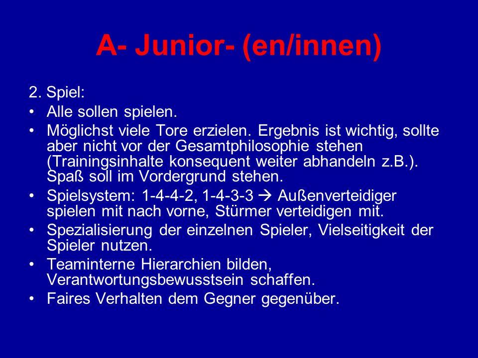 A- Junior- (en/innen) 2. Spiel: Alle sollen spielen.