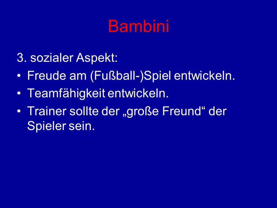 Bambini 3. sozialer Aspekt: Freude am (Fußball-)Spiel entwickeln.