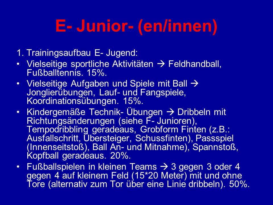 E- Junior- (en/innen) 1. Trainingsaufbau E- Jugend: