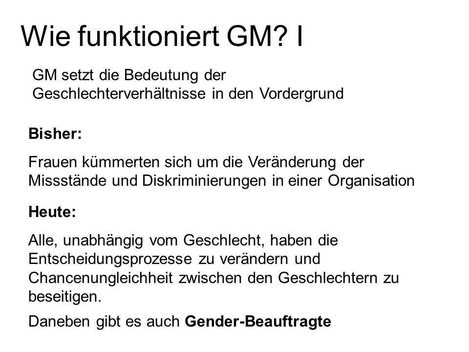 Wie funktioniert GM I GM setzt die Bedeutung der Geschlechterverhältnisse in den Vordergrund. Bisher: