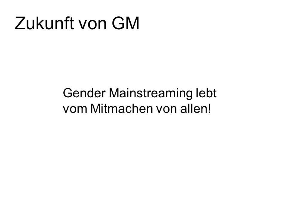 Zukunft von GM Gender Mainstreaming lebt vom Mitmachen von allen!