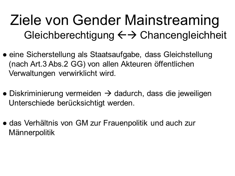 Ziele von Gender Mainstreaming