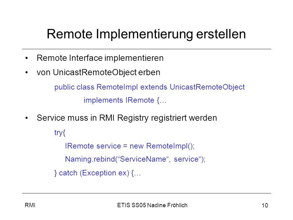 Remote Implementierung erstellen