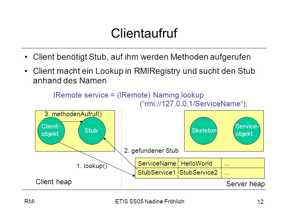 Clientaufruf Client benötigt Stub, auf ihm werden Methoden aufgerufen