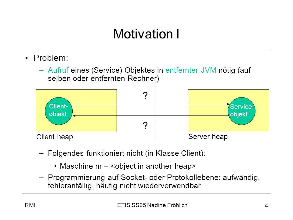 Motivation I Problem: Aufruf eines (Service) Objektes in entfernter JVM nötig (auf selben oder entfernten Rechner)