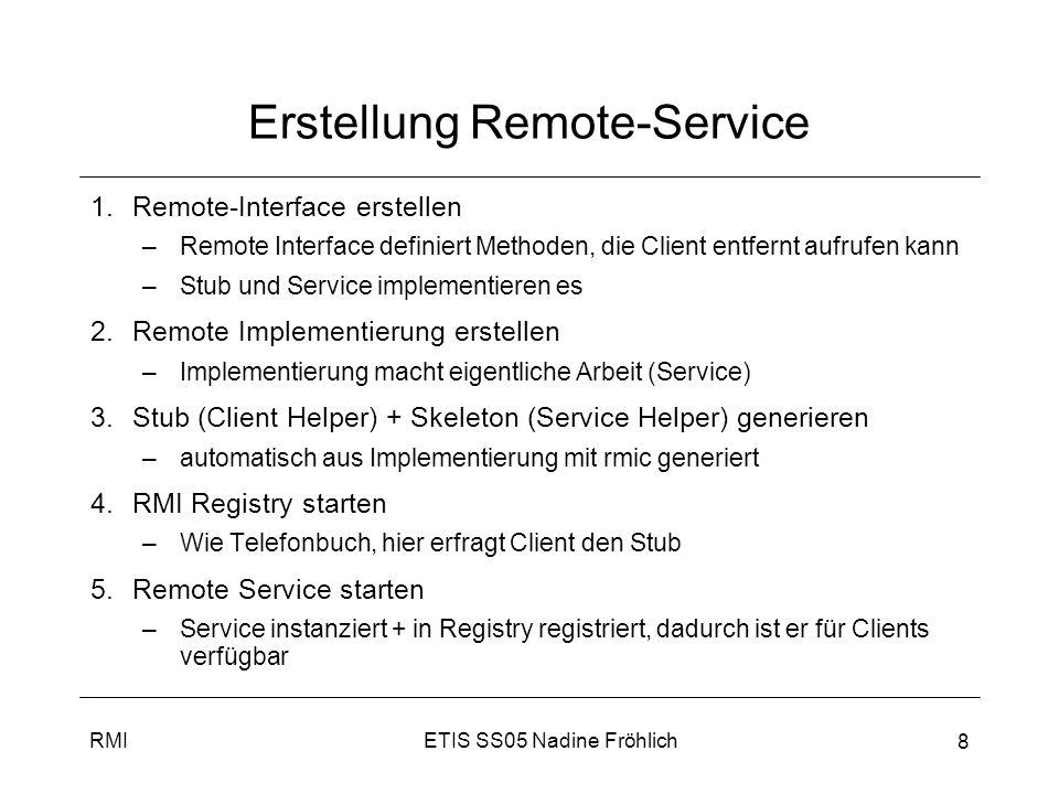 Erstellung Remote-Service