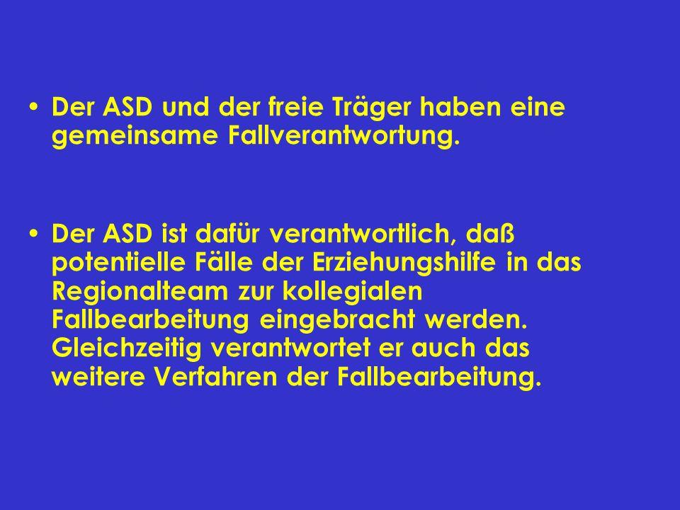 Der ASD und der freie Träger haben eine gemeinsame Fallverantwortung.
