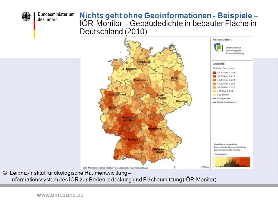 Nichts geht ohne Geoinformationen - Beispiele – IÖR-Monitor – Gebäudedichte in bebauter Fläche in Deutschland (2010)