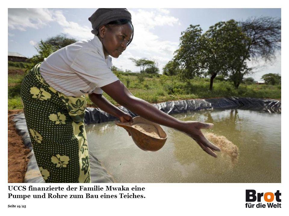 UCCS finanzierte der Familie Mwaka eine Pumpe und Rohre zum Bau eines Teiches.