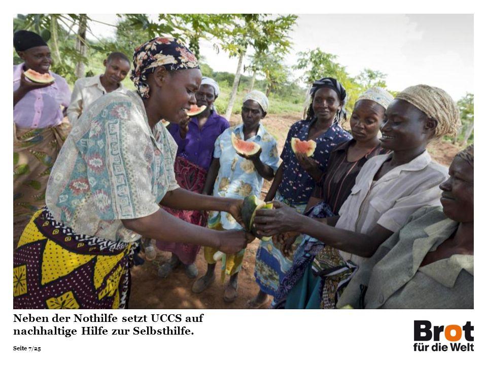 Neben der Nothilfe setzt UCCS auf nachhaltige Hilfe zur Selbsthilfe.
