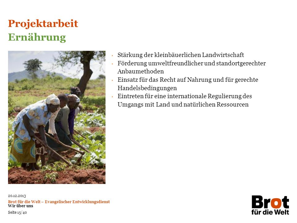 Projektarbeit Ernährung Stärkung der kleinbäuerlichen Landwirtschaft