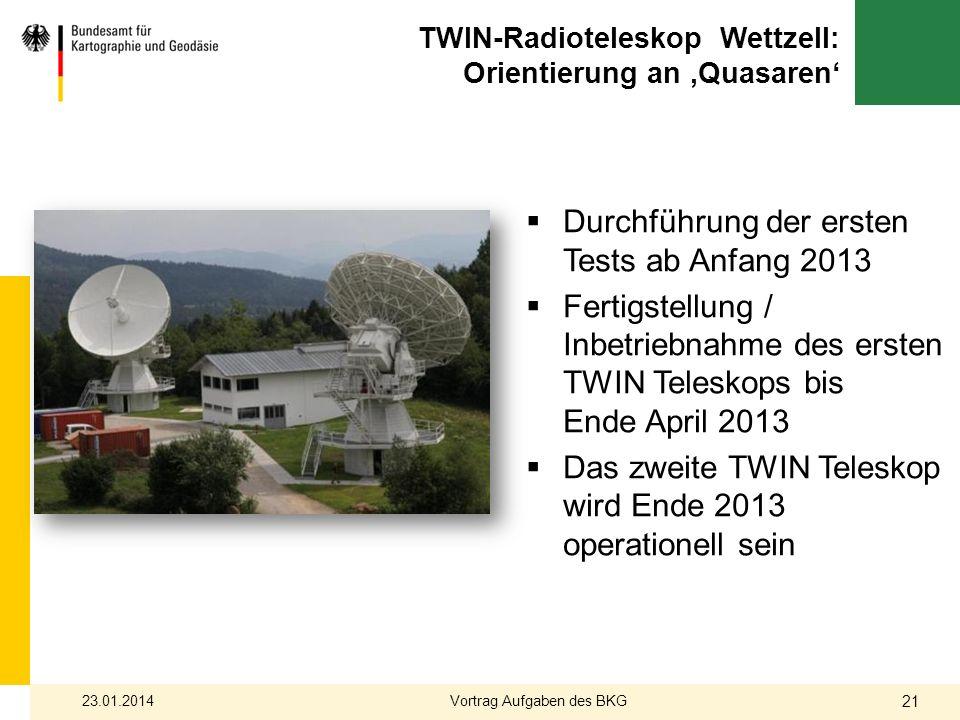 TWIN-Radioteleskop Wettzell: Orientierung an 'Quasaren'