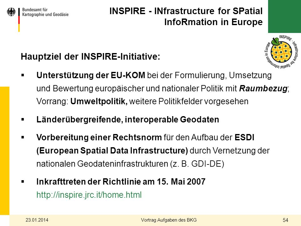 INSPIRE - INfrastructure for SPatial InfoRmation in Europe