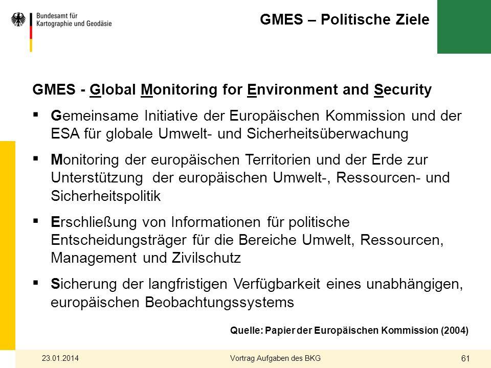 GMES – Politische Ziele