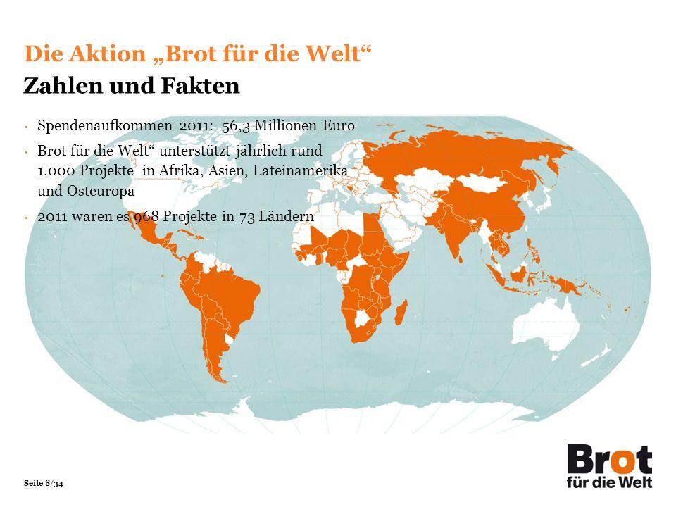 """Die Aktion """"Brot für die Welt Zahlen und Fakten"""