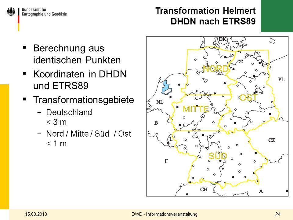 Transformation Helmert DHDN nach ETRS89