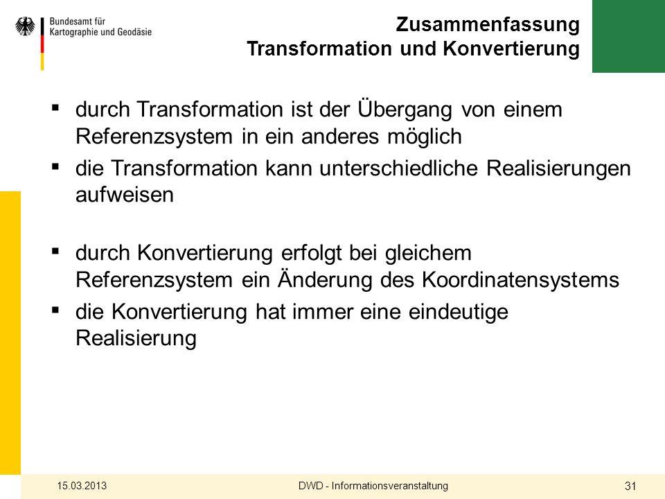 Zusammenfassung Transformation und Konvertierung