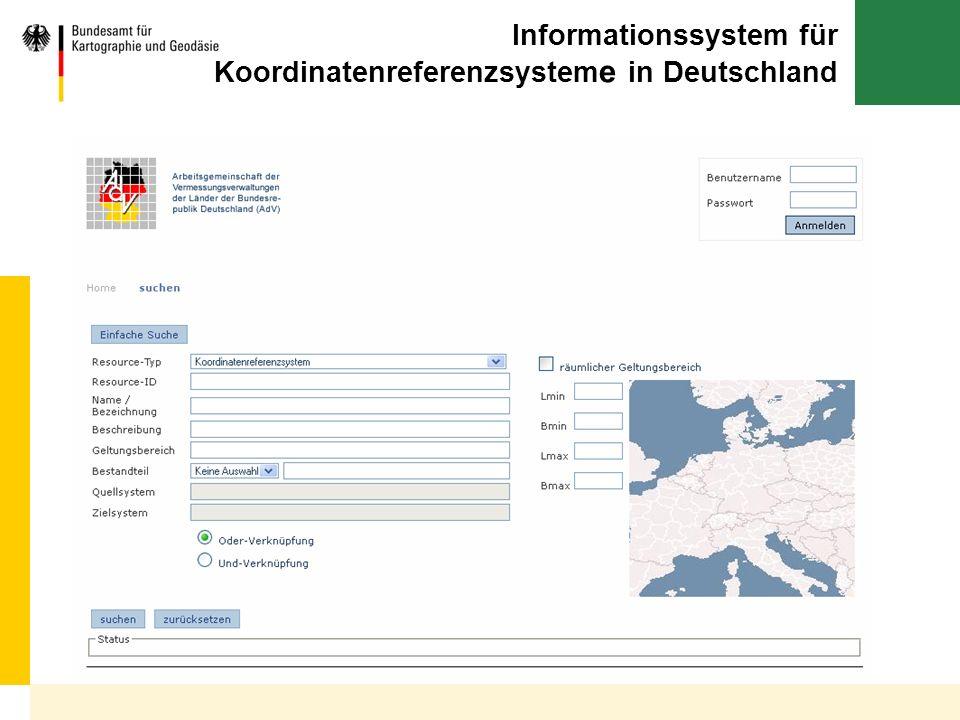 Informationssystem für Koordinatenreferenzsysteme in Deutschland