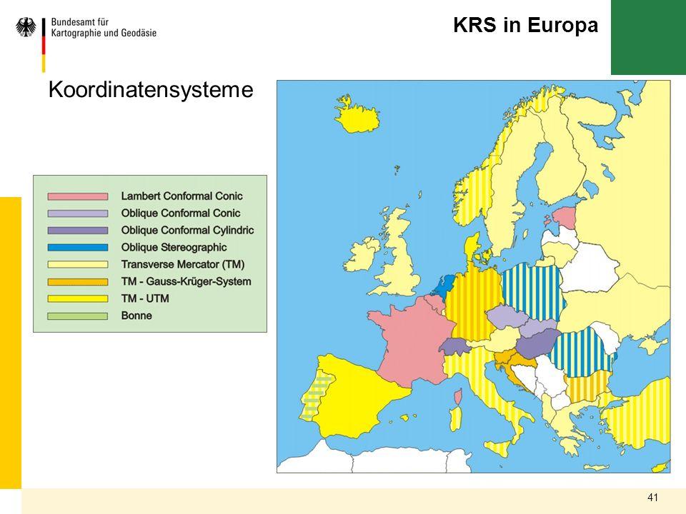 KRS in Europa Koordinatensysteme