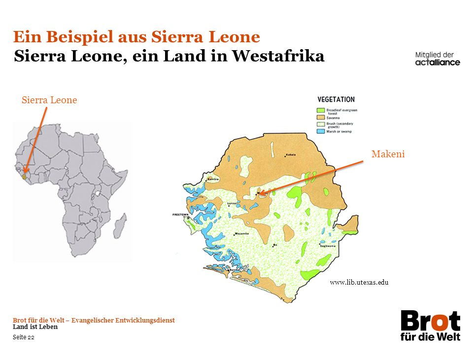Ein Beispiel aus Sierra Leone Sierra Leone, ein Land in Westafrika