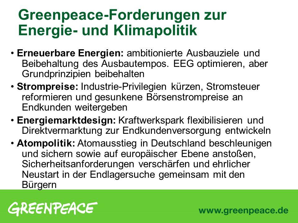 Greenpeace-Forderungen zur Energie- und Klimapolitik