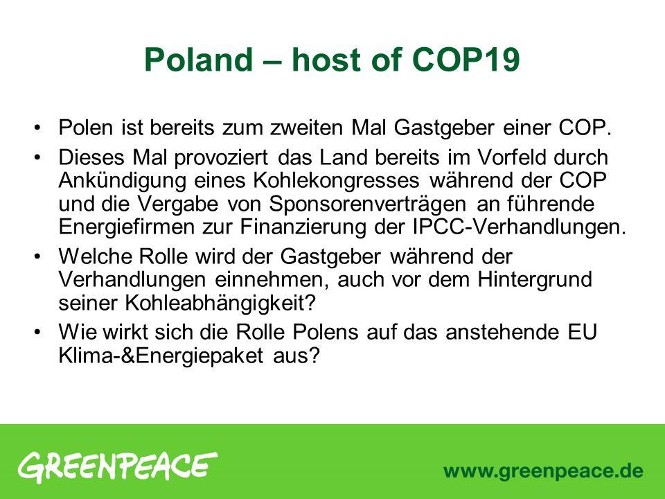 Poland – host of COP19 Polen ist bereits zum zweiten Mal Gastgeber einer COP.