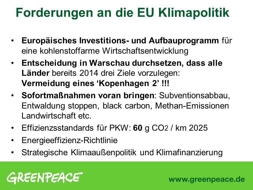 Forderungen an die EU Klimapolitik