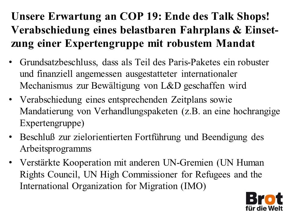 Unsere Erwartung an COP 19: Ende des Talk Shops