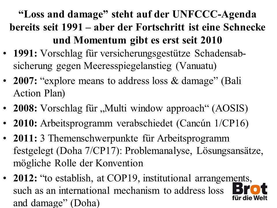 Loss and damage steht auf der UNFCCC-Agenda bereits seit 1991 – aber der Fortschritt ist eine Schnecke und Momentum gibt es erst seit 2010