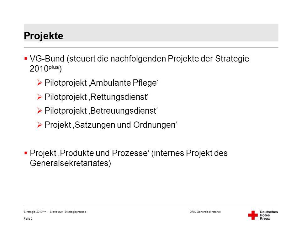 Projekte VG-Bund (steuert die nachfolgenden Projekte der Strategie 2010plus) Pilotprojekt 'Ambulante Pflege'