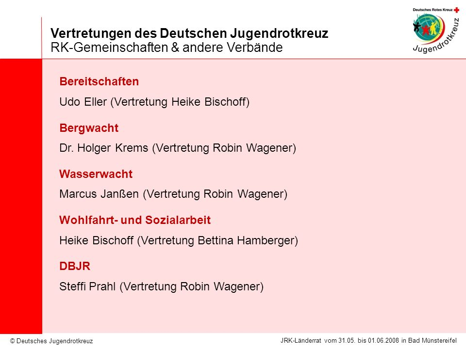 Vertretungen des Deutschen Jugendrotkreuz